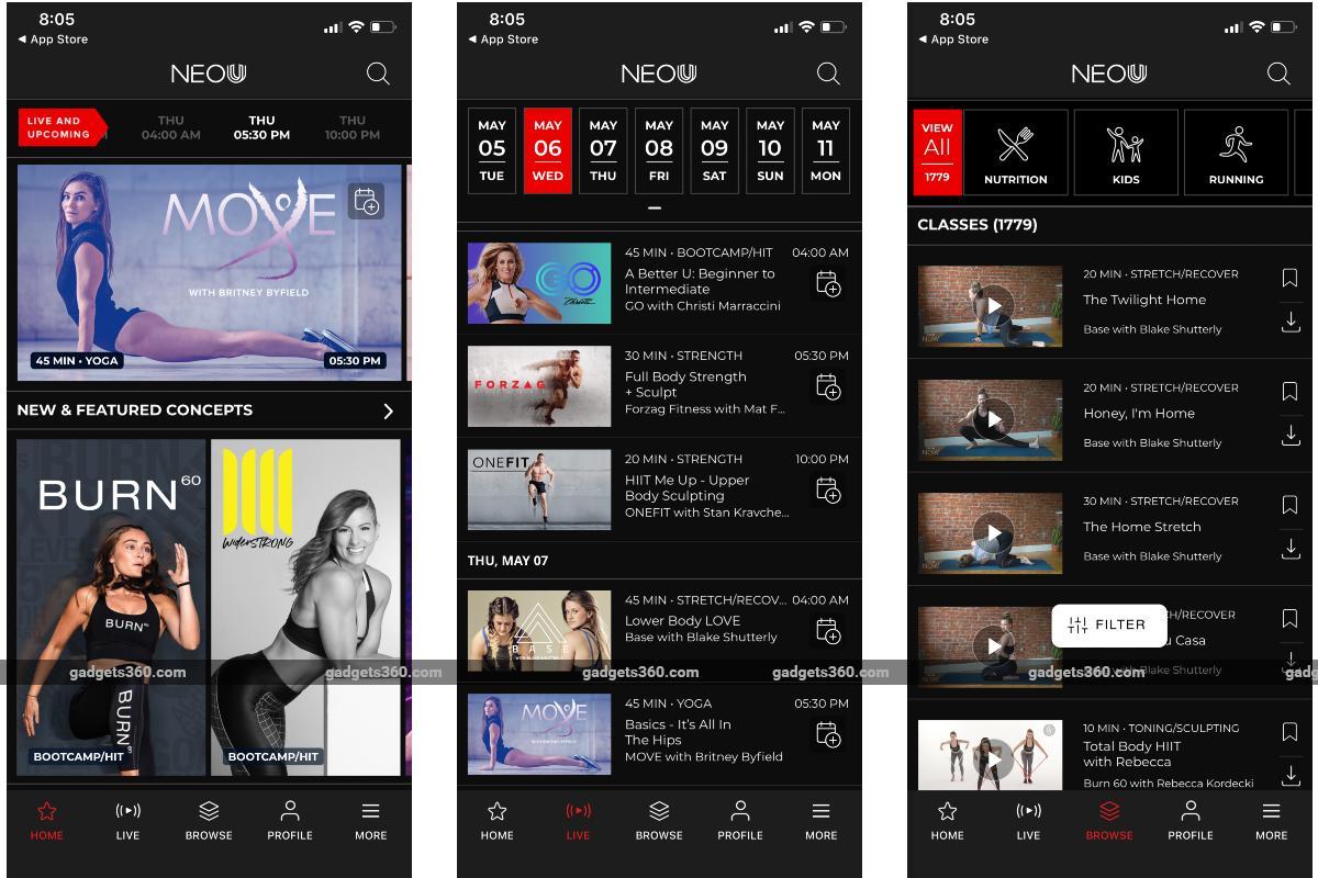 neou fitness app screenshots gadgets 360 Neou