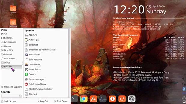 MakuluLinux Core 2020 two-column vertical menu